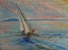 Balatoni vitorlás. Techno, Sailboats, Painting, Art, Sailing Yachts, Sailing Boat, Painting Art, Paintings, Kunst