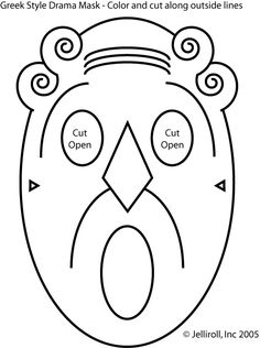 Greek masks coloring page 1. | Teaching: Masks and Mask Templates ...