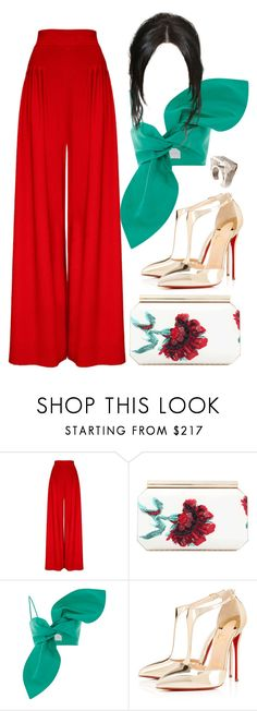 """""""Caribbean Dinner"""" by perichaze ❤ liked on Polyvore featuring Hebe Studio, Oscar de la Renta, Christian Louboutin and Vionnet"""
