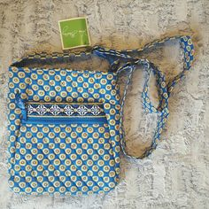 "NWT Vera Bradley Crossbody Super cute blue & yellow flowered crossbody. Tags still attached. Adjustable strap. 10"" wide 11"" tall. Lots of pockets! Vera Bradley Bags Crossbody Bags"