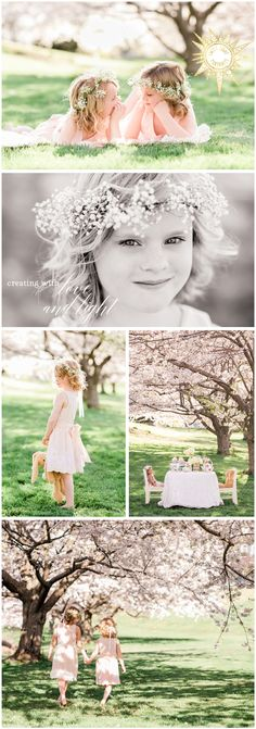 Adorable tea party portrait session for little girls. Pale pinks and floral hair crowns with beautiful cherry tree blossoms as a backdrop. Spring inspired photography sessions for little girls.