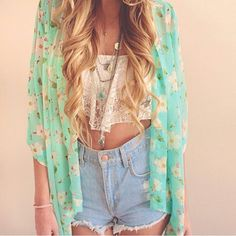 Teal floral kimono with laxe crop top and denim shorts | lookbookstore.com