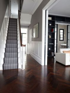Victorian Hallway Uk Home Design Ideas, Renovations & Photos – Home Renovation Style At Home, Hall Flooring, Wood Flooring, Flooring Ideas, Wood Paneling, Wood Wainscoting, Garage Flooring, Stair Paneling, Entryway Flooring