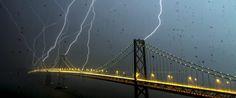 San Francisco's Bay Bridge being struck by lightning - amazing.