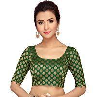 Beautiful Green Indian Readymade Sari Blouse Saree Blouse Choli Fabric Craft Tunic Top Floral Weaving Banglori Silk For Women MadeInIndia Sari Blouse Designs, Fancy Blouse Designs, Blouse Styles, Beautiful Blouses, Saree Blouse, Silk Fabric, Indian Wear, Ready To Wear, Tunic Tops