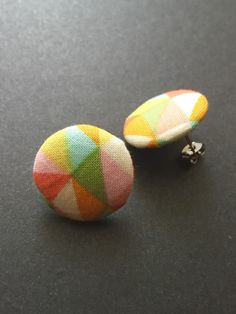 Edgy fabric button earrings geometric sugical steel by Rubenabird