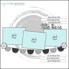 Inspired Blueprints: page layout scrapbook Scrapbook Layout Sketches, Scrapbook Templates, Card Sketches, Scrapbook Paper Crafts, Scrapbooking Layouts, Digital Scrapbooking, Scrapbook Designs, Baby Scrapbook, Scrapbook Albums