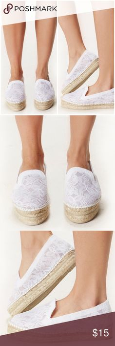PLANET BLUE MANEBI PLATFORM ESPADRILLES FREEPEOPLE Gorgeous sheer white lace platform espadrilles from Manebi. I believe I still have tags for these, although they were worn indoors on lookbook shoots several times-they retail for over $200 but that is a loony price. They are a size 8 but seem to pinch, so are better for a US 7.5. Both models who wore these said they rubbed the backs of their heels. Just FYI!! Manebi Shoes Espadrilles