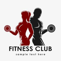 Illustration of Fitness club logo or emblem with woman and man silhouettes. Woman and Man holds dumbbells. Isolated on white background. Free font Raleway used. vector art, clipart and stock vectors. Logos Gym, Gym Logo, Fitness Logo, Fitness Posters, Logo Academia, Gym Design, Logo Design, Design Art, Graphic Design