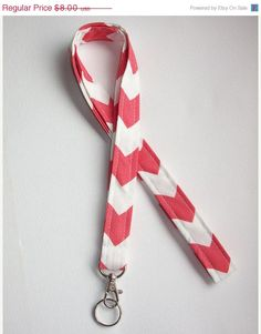 SALE  Lanyard  ID Badge Holder  Coral Chevron zigzag Zig by Laa766, $7.50