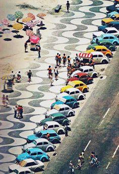 New Time Capsule: VW Beetles at Copacabana, c.1970