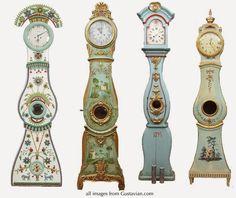 Antique Swedish Mora Clocks. Click through for great info about the clocks' origin.