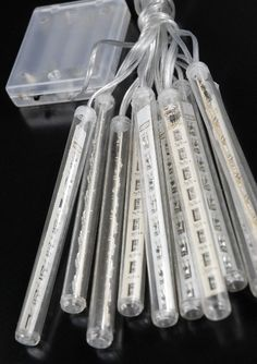 LED Meteor Icicle Light Tubes Battery Operated White 10 Count 12.5 feet $19.95