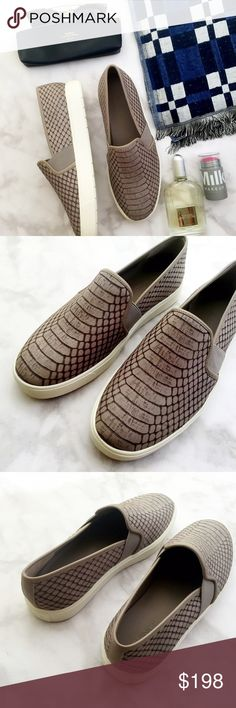 ⚡️SALE⚡️Vince Snake Embossed Slip On Sneakers Details: • Size 7.5 • Grayish taupe snake embossed leather • Rubber sole • True to size • Brand new in box   07141620 Vince Shoes Slippers