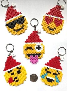 Emoji Face Christmas Santa Hat Keyrings Xmas Gift / Stocking Filler NEW UK | My Craft Ideas | Pinterest