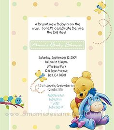 Pooh & Eeyore Babies Baby Shower Invitation Photo:  This Photo was uploaded by amarisdesigns. Find other Pooh & Eeyore Babies Baby Shower Invitat...