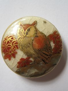 Estate... OLD Satsuma Ceramic Horned Owl Button Japanese