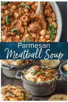 Parmesan Meatball Soup is the ultimate comfort food! This cheesy, hearty Meatball Parmesan Soup topped with melted cheese and basil just might be the best soup you've had all year! Gourmet Recipes, Soup Recipes, Vegetarian Recipes, Dinner Recipes, Cooking Recipes, Healthy Recipes, Healthy Food, Recipies, Yummy Food
