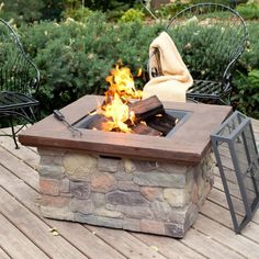 Red Ember Sheridan 35 in. Square Wood Burning Fire Pit Table - Fire Pits at Hayneedle Fire Pit Coffee Table, Outdoor Fire Pit Table, Gas Fire Table, Outdoor Coffee Tables, Fire Pit Backyard, Outdoor Living, Outdoor Spaces, Outdoor Seating, Wood Fire Pit