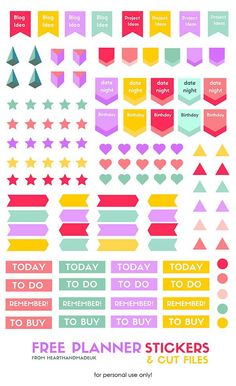 Free printable planner stickers to help organize your planner. All in glorious colours you will love! There's also a black png. cut file so that it will work with your silhouette cameo or silhouette portait machine! There's no way I'd be able to cut all those stickers out, I'm really bad with scissors. For a crafter that is a little strange non?