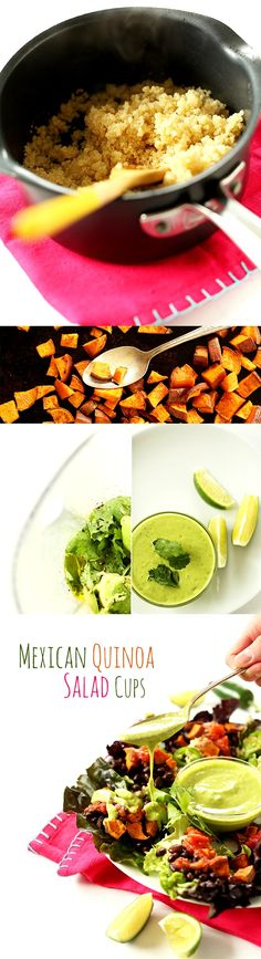 Mexican Quinoa Lettuce Wraps! Black beans, sweet potatoes, quinoa + an AMAZING cilantro-lime dressing. So healthy, easy and mega flavorful.  #vegan #glutenfree
