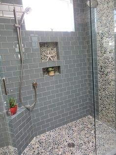 Contemporary Full Bathroom with Shower, Full Bath, frameless showerdoor, Pebble shower floor, Casement, High ceiling