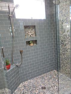 Contemporary Full Bathroom with Shower, Full Bath, frameless showerdoor, Pebble shower floor, Casement, High ceiling
