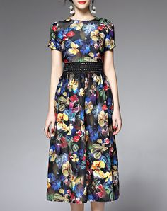 Check the details and price of this Black Vintage Floral Print Short Sleeve Midi Dress (Black, FLENKIY) and buy it online. VIPme.com offers high-quality Day Dresses at affordable price.