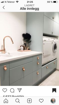 An ultra-chic laundry room with leather drawer pulls. Interior Exterior, Home Interior Design, Küchen Design, House Design, Laundry Room Wall Decor, Laundry Rooms, Leather Drawer Pulls, Laundry Room Inspiration, Laundry Room Design