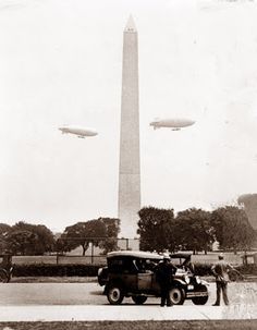 While the large airships are most often associated with Germany, the US Army had a large interest in the craft in the 1920's and 1930's. This picture shows two of the airships circling the Washington Monument. It is generally recognized that most of the real innovation in this type of aircraft was done in Germany.