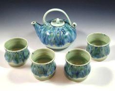 Custom Order - Porcelain Teapot Set - Hand Thrown Teapot Set with 4 tea cups