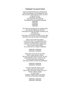 Hallelujah Lyrics by Leonard Cohen | music favorites | Pinterest ...