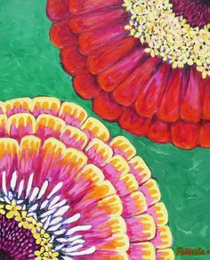 Two Giant Zinnias painted on canvas by patriciaezzell on Etsy, $550.00