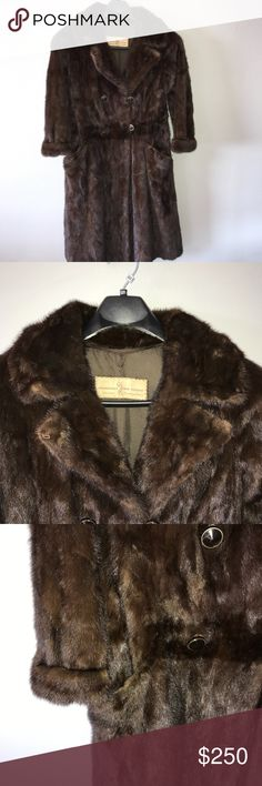 Vintage Custom Authentic Beaver Fur Jacket Coat MD Gently pre loved condition authentic Beaver Fur coat, hand made by Barbatsuly Furs in Long Island, NY. Satin lined inside. Velvet lined pockets. Double breasted buttons. Beautiful condition, no signs of wear or tear, no odors. No marked size, estimated size medium. *Measured Flat* Across shoulders: 17.5in Sleeve length: 22in Across chest (under arm to under arm): 18in Top to bottom hem (back): 46in. None Jackets & Coats