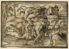 """A fool balancing precariously on the back of an ass; the saddle straps unfastened; illustration to a Latin edition of Sebastian Brant's 'Ship of Fools', probably that printed by Petri in Basel in 1572.  c.1568-72  Woodcut """"Of Reckless Fools"""" British Museum"""