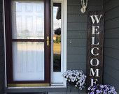 """Gran tamaño puerta Patio frontal rústica plataforma """"Bienvenido"""" signo"""