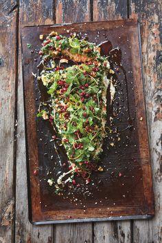 Salmon + coriander, mint, walnut houmous