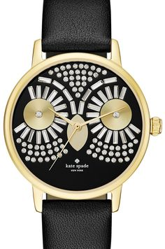 The crystal encrusted owl lends a whimsical touch to an otherwise classic Kate Spade watch.