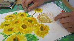 Van Gogh Sun Flowers - Oil Pastel Painting for Beginners Oil Pastel Paintings, Oil Pastel Art, Oil Pastels, Oil Pastel Techniques, Van Gogh Sunflowers, 2nd Grade Art, Famous Art, Art Classroom, Art Oil