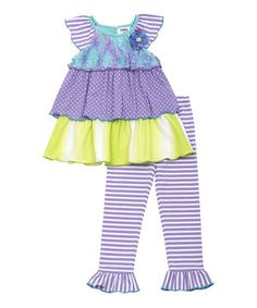 Love this Purple & Green Ruffle Angel-Sleeve Top & Leggings - Girls by Rare Editions on #zulily! #zulilyfinds