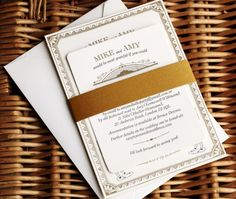 Gold Vintage-Inspired Letterpress Wedding Invitations by Artcadia