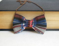 Blue Red Plaids  Bow Tie Necklace by Fr33na on Etsy, $11.00