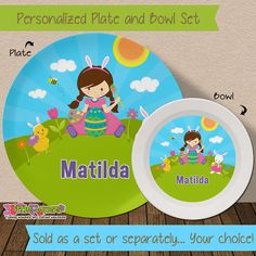 Spring Plate and Bowl Set - Personalized Melamine Children Plate and Cereal Bowl - PICK HAIR SKIN color - Personalized Easter Plate and Bowl