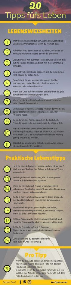 20 Tipps fürs Leben (Infografik) 20 life tips that will help you to strengthen your personality and make better decisions in certain life situations. Lifehacks, Discipline, Life Advice, Life Tips, Health Coach, Better Life, Self Improvement, Cool Things To Make, Good To Know