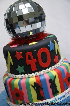 Put a disco ball on it! Dance Birthday Cake, 40th Birthday Themes, Adult Birthday Cakes, Themed Birthday Cakes, Themed Cakes, Birthday Ideas, Birthday Parties, 70s Party, Retro Party