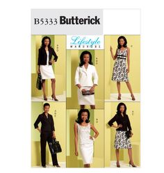 5333   Butterick Pattern - Misses' Jacket, Top, Dress, Skirt and Pants The model reminds me of Michelle Obama.