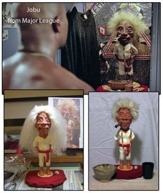 Jobu from Major League. A commission done in Super Sculpty based on the original from the movie.Top image is the original Jobu. Bottom is the Jobu I sculpted before his haircut, then the completed piece.