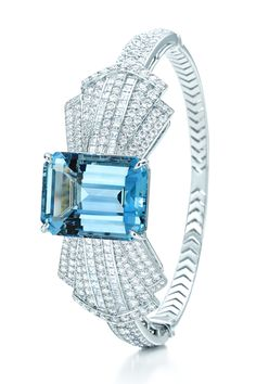 Tiffany Bracelet in Platinum with a 25.23-carat Emerald-Cut Aquamarine and Diamonds