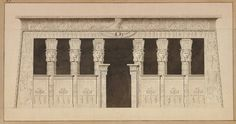 'Voyage dans la Basse et la Haute Egypte, pendant les campagnes du Général Bonaparte', by Dominique Vivant-Denon, 1802 ; Temple of Tentyris : Portico with Hathor headed columns, winged sun discs above, the sides decorated with figures. British Museum, London. Classical Period, British Museum, Ancient Egypt, 18th Century, Egyptian, Temple, Old Things, Louvre, London