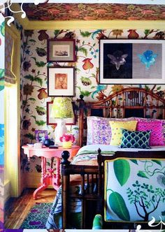 Color, textures, patterns, and more color are what's hot in interior design. View this complete guide to maximalist interiors - maximal style, the Boho Luxe Home way. Bohemian Bedrooms, Bohemian Interior, Home Interior, Bohemian Decor, Eclectic Bedrooms, Bohemian Bedding, Interior Colors, Bohemian Living, Luxury Interior